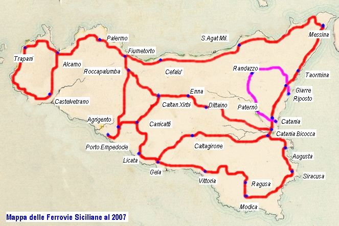 Map Of Italy With Train Routes.Trains Rails Sicily Holiday Com