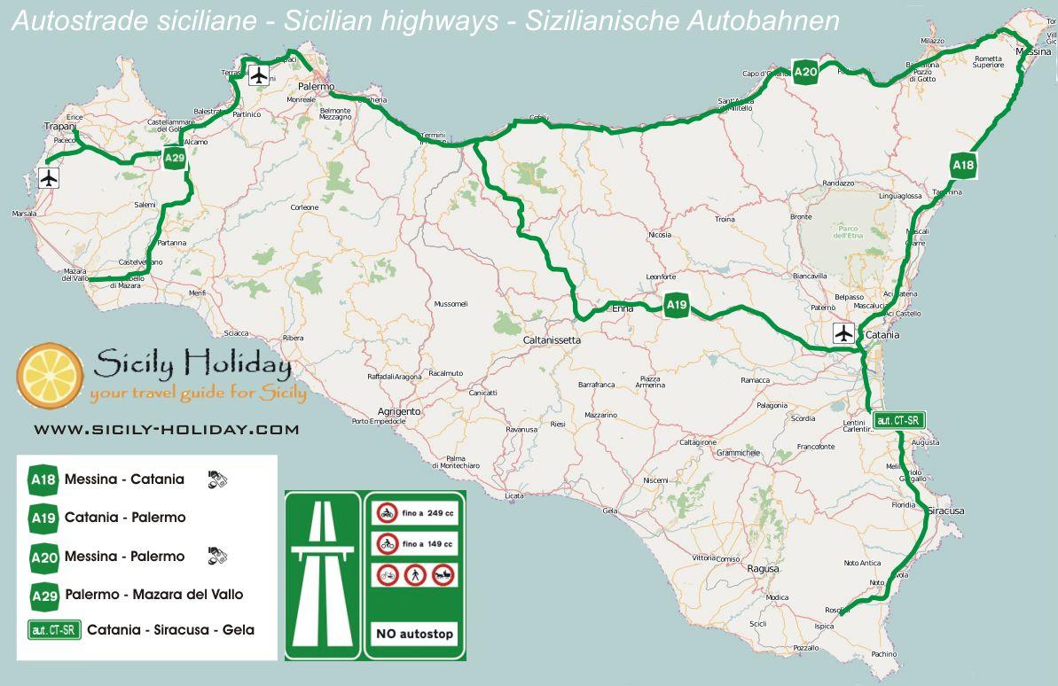 Cartina Strade Sicilia.Autostrade Siciliane Sicily Holiday Com