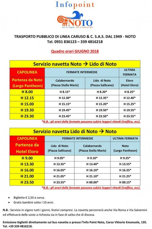 Summer Shuttle Bus Service From Noto To The Beaches Sicily Holiday Com